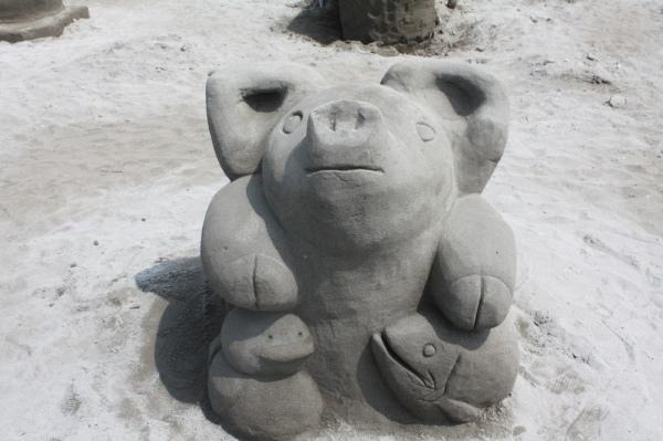 一般参加砂像:三つ巴(石狩翔陽高校)